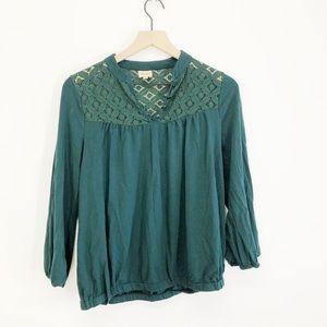 Ella Moss Green Lace Blouse Size Medium